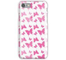 Pastel pink watercolor vintage butterflies pattern  iPhone Case/Skin