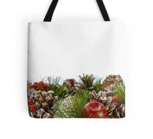 Christmas Decorative Wreath on White Background Tote Bag