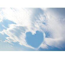 blue sky love heart Photographic Print