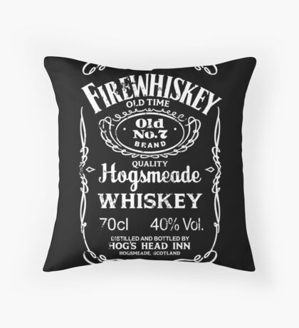 Hogsmeade's Old No.7 Brand Firewhiskey Throw Pillow