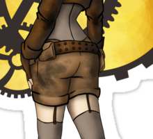 Steampunk Girl Pinup Sticker