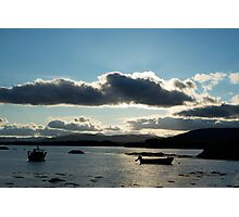 boats in a calm quiet bay at sunset Photographic Print