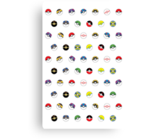 Cute Pokeball Pattern Canvas Print