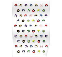 Cute Pokeball Pattern Poster