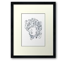 Medusa // The year of the Snake (Gorgoneion, Blue Drawing) Framed Print