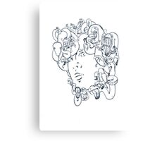 Medusa // The year of the Snake (Gorgoneion, Blue Drawing) Canvas Print