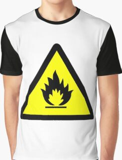 Flammable Warning Sign Graphic T-Shirt