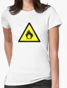 Flammable Warning Sign Womens Fitted T-Shirt