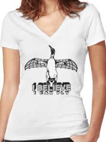 I Believe I Can Fly Women's Fitted V-Neck T-Shirt