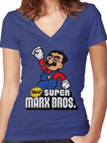 Super Marx Bros. Women's Fitted V-Neck T-Shirt