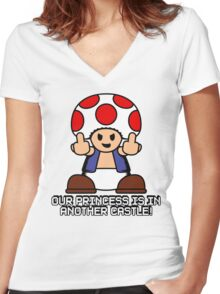 Our Princess Is In Another Castle Women's Fitted V-Neck T-Shirt