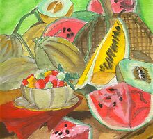 Summer Produce Watercolors by Oldetimemercan