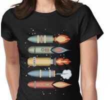 Colorful outer space rockets flaming jet pack clouds Womens Fitted T-Shirt