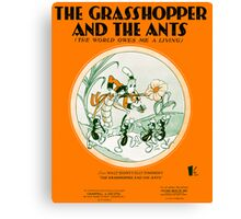 THE GRASSHOPPER AND THE ANTS (vintage illustration) Canvas Print