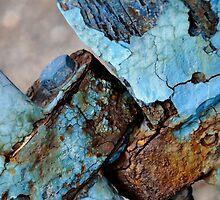 Rusty blue bolt by Karen  Betts