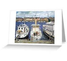 Boats in Stockholm Greeting Card