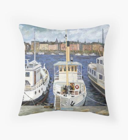Boats in Stockholm Throw Pillow