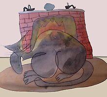 Fuzzard Big Nosed cat And The Warm Cozy Fire by pinkyjainpan