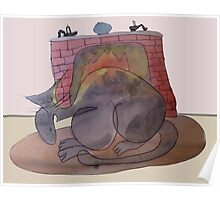 Fuzzard Big Nosed cat And The Warm Cozy Fire Poster