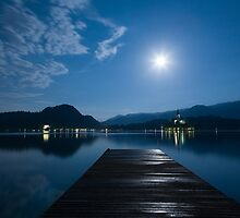 Supermoon over bled Island Church by Ian Middleton