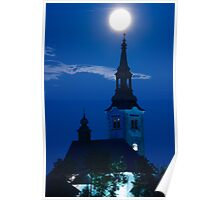 Supermoon over bled Island Church Poster