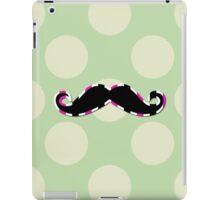 Moustache, Polka Dots, Stripes - Black Green Pink iPad Case/Skin