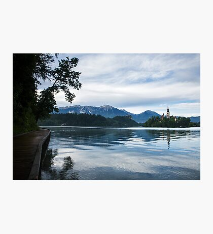 After storm light over Lake Bled Photographic Print
