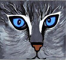 Bright Eyes acrylic cat face by sissybeckart777