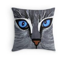 Bright Eyes acrylic cat face Throw Pillow
