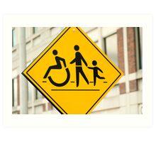 Adult, children and handicap Pedestrian Sign Art Print