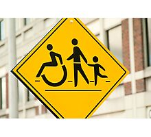 Adult, children and handicap Pedestrian Sign Photographic Print