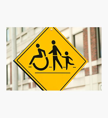 Adult, children and handicap Pedestrian Sign Photographic Print