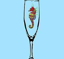 Crayon Seahorse iPhone Case by azummo