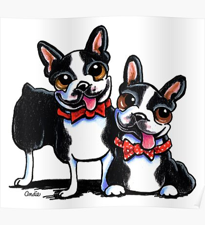 Merry Gentlemen | Boston Terriers Poster