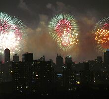Independence Day fireworks in New York City by Alberto  DeJesus