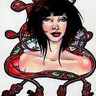 Red Silk Rope by JoanOfArt