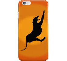 Silhouette of a Stretching and Yawning Dog on Orange Background iPhone Case/Skin