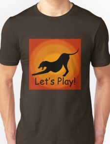 Silhouette of a Stretching and Yawning Dog on Orange Background Unisex T-Shirt