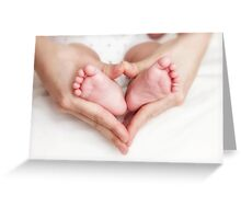 Newborn baby in the mother hands Greeting Card