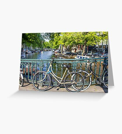 Amsterdam canal and bikes Greeting Card