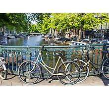 Amsterdam canal and bikes Photographic Print