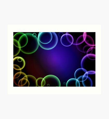 Colorful bubbles in a frame Art Print