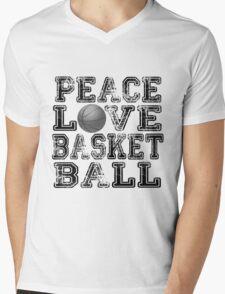 Peace, Love, Basketball Mens V-Neck T-Shirt