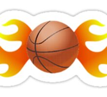 Basketball with Flames Sticker