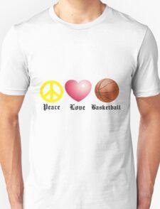 Peace, Love, Basketball Unisex T-Shirt