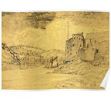 An - 'oldified' - digital painting of my pencil drawing of Dartmouth Castle Poster