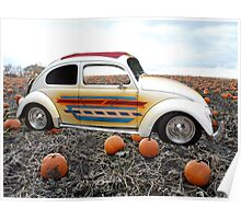 Old Bug Car in a field with pumpkins. Poster