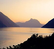SUNSET LUGANO - SWITZERLAND by Marilyn Grimble