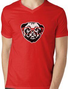 Nerd Pug Mens V-Neck T-Shirt