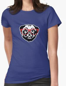 Nerd Pug Womens Fitted T-Shirt